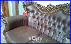 Antique sculptured cherub sofa and chairs, rare