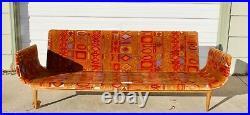 Armstrong Co. Gondola Couch with Jack Lenor Larsen Caravan fabric Mid Century