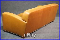 Art Deco Style Ralph Lauren Butterscotch Leather Sofa Couch Nailhead Trim C2005