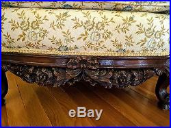 BEAUTIFUL Antique Carved Re-Upholstered Sofa/Couch and Chair Set
