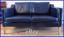 BORGE MOGENSEN STYLE LEATHER SOFA by STOUBY danish mid century love seat 2212