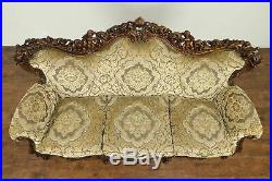 Baroque Style Italian Fruitwood Vintage Sofa, Carved Angels #31351