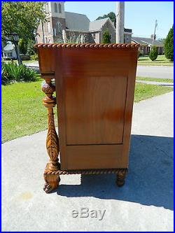 Beautiful Claw Foot Acanthus Carved Mahogany Empire Butlers Hall Bench Settee