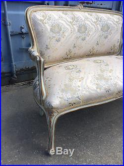 Beautiful French Settee Louis XVI Style Couch Sofa Clean Upholstery Carved Wood