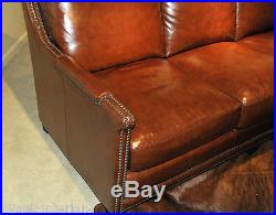 Beautiful NEW ART DECO Sofa in antiqued Butterscotch GENUINE LEATHER Couch sette