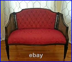 Beautiful Vintage Settee, Wooden, Cane, Fine Red Upholstery FREE UPS SHIPPING