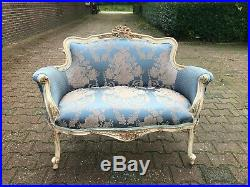 Beautiful contemporary Blue and White French Louis XVI Style Settee