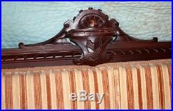 Bench, sofa, banquette, Renaissaince Victorian, walnut, shells, bolsters, 74l