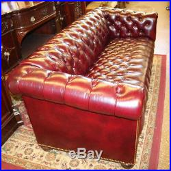 Best Baker Burgundy Oxblood English Tufted Chesterfield Leather Sofa Couch MINT
