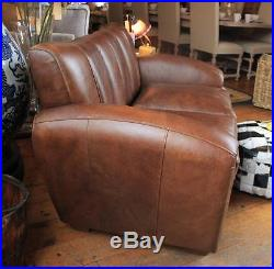 Brown Leather Club Sofa Chair 2 Seater Vintage Styling Art ...