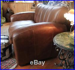 Brown Leather Club Sofa Chair 2 Seater Vintage Styling Art Deco style