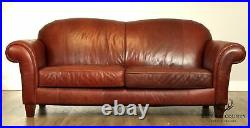 Broyhill Chestnut Brown Leather Sofa