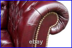 Burgundy Red Leather Chesterfield Sofa