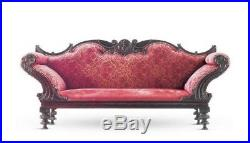 C. 1890 Antique Portuguese Rosewood Upholstered Settee Sofa