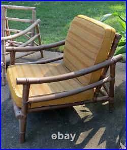 Calif-Asia Bamboo Rattan Sectional Patio Lounge Chair Sofa Milo Baughman Tiki