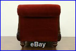 Carved Mahogany Vintage Velvet Day Bed, Chaise or Fainting Couch #33105