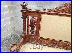 Carved Victorian Oak Northwind Face Large Bench, Attr. R. J. Horner