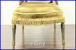 Chaise Lounge Sofa, 1920's Antique Louis XVI Style, Caned Seat