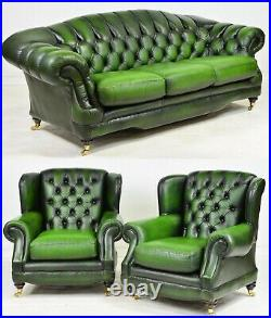 Chesterfield Sofa and Chairs, British Leather Green Curved Back, Vintage