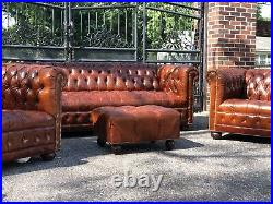 Chesterfield Sofa and Club Chairs, Tufted Leather Root Beer Brown