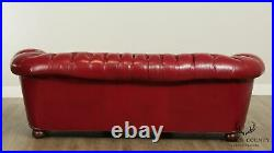 Chesterfield Style Vintage Quality Red Leather Tufted Sofa