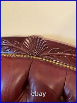 Chesterfield style Sofa tufted leather Couch red burgundy