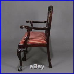 Chippendale Style Carved Mahogany Upholstered Double Chair Settee, 20th Century