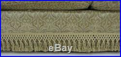 Chippendale Style Custom English Sofa Rolled Arms and Tassel Accents