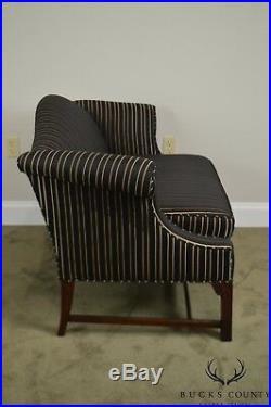 Chippendale Style Custom Mahogany Black & Gold Upholstered Loveseat