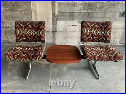 Chromcraft Pendleton Wool Pattern PDX Airport Bench Sapele Wood Table