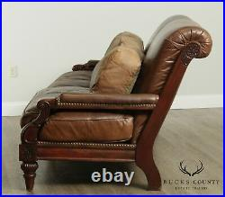 Cibola Distressed Brown Leather Large Mahogany Regency Style Sofa