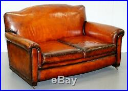 Circa 1900 Fully Restored Whisky Brown Leather Sofa & Pair Of Armchairs Suite
