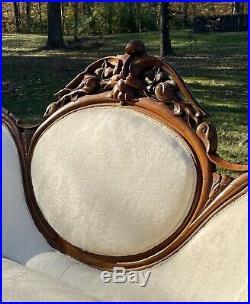 Civil War Era 1800's Antique Carved Walnut Off White Settee Loveseat