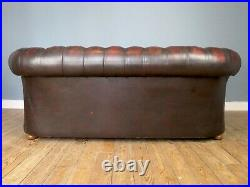 Classic 1980s British Oxblood Leather Chesterfield Sofa