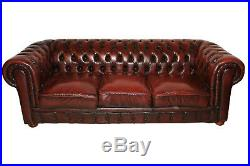 Classic Red Leather Chesterfield Salon Set, Includes Sofa & Loveseat, 1970's
