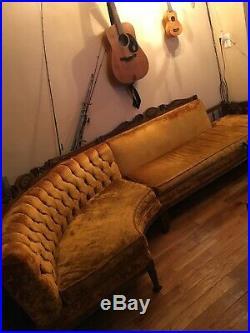 Crushed Gold Velvet Sectional Sofa