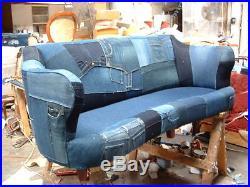 Custom Made Denim/Jeans sofa upholstered on Antique Frame-Hand Tied Springs