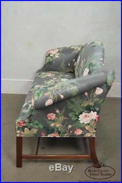 Custom Mahogany Chippendale Style Camel Back Sofa