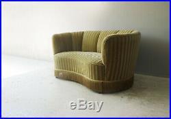 Danish 1950s vintage 2 seat velour sofa