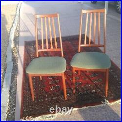 Danish Modern Mid Century Pair Tall Slat Back Teak Side Dining Chairs BIN OBO