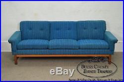 Danish Modern Mid Century Teak Frame Blue Upholstered Sofa