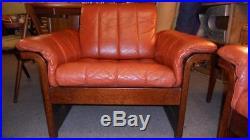 Danish Modern Stressless Ekornes Style Sofa, Loveseat & Lounge Chair Leather