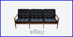 Danish Studio Couch Black Leather Vintage Sofa 60s