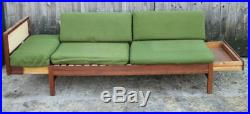 Danish daybed- good rattan & teak frame two pullout draws- needs reupholstered