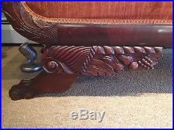 Early American Classical Sofa Circa 1825 Mahogany Horns of Plenty Paw Casters