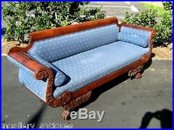 Early American Classical Sofa Circa 1825 Mahogany with Hairy Paw Feet & casters