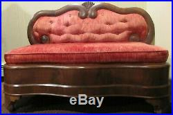 Early Victorian Mahogany Love Seat with Red Velvet Upholstery Family Heirloom