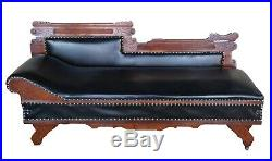 Eastlake Victorian Oak Leather Chaise Lounge Fainting Couch Murphy Bed Parlor