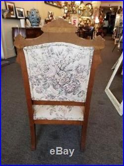 Eastlake parlor set, 3 pieces, good condition, setee and 2 chairs, floral fabric