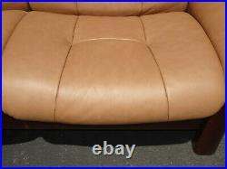 Ekornes Stressless Buckingham Leather Sofa Danish Modern Low Back Reclining